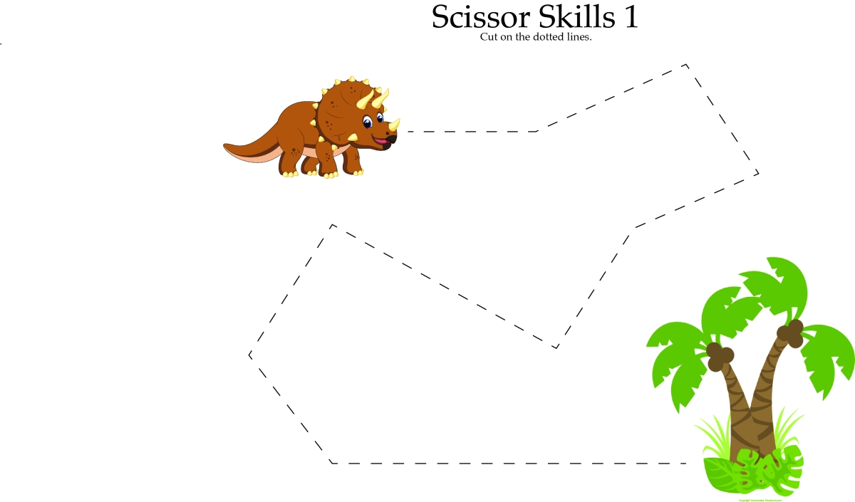 Dinosaur Scissor Skills Worksheets {freebies!}