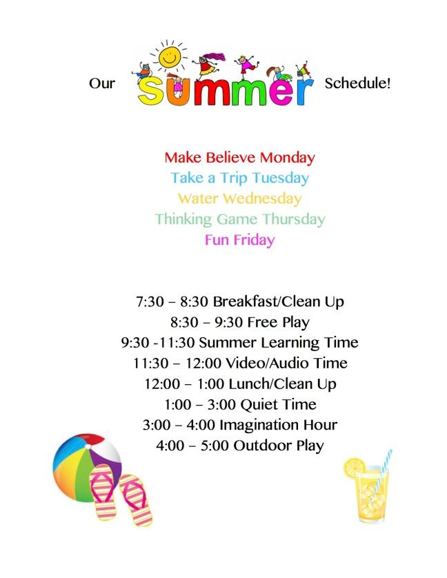 Summer Schedule 2017